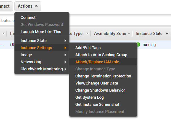 Attaching IAM role to a running EC2 instance
